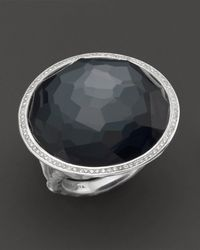 Ippolita - Stella Ring In Hematite Doublet With Diamonds In Sterling Silver - Lyst