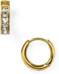 Nadri - Tiny Channel Set Hoop Earrings - Lyst