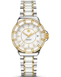 Tag Heuer - Gold And White Ceramic Watch With Diamonds - Lyst