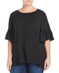 Lucky Brand - Tonal Floral Bell Sleeve Top - Lyst