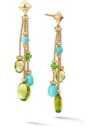 David Yurman - Bijoux Bead Link Drop Earrings In 18k Yellow Gold With Peridot & Turquoise - Lyst