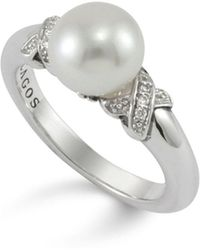 Lagos - Luna Pearl Diamond X Ring - Lyst