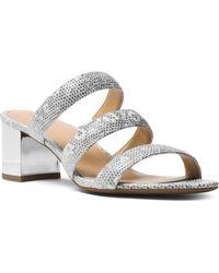 MICHAEL Michael Kors - Women's Paloma Embossed Leather Flex Slide Sandals - Lyst