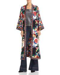 Alice + Olivia - Alice + Olivia Lynn Side-slit Floral Print Kimono - Lyst