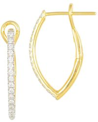 Frederic Sage | 18k Yellow Gold Diamond Marquise Small Hoop Earrings | Lyst