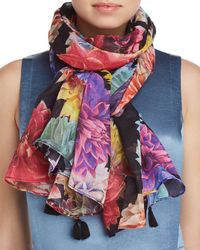 Larioseta - Tassel Floral Print Silk Scarf - Lyst