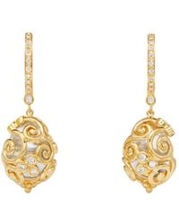 Temple St. Clair - 18k Yellow Gold Lattice Rock Crystal & Diamond Amulet Earrings - Lyst