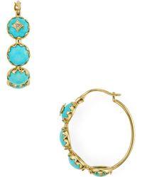 Nadri - Birdie Turquoise Hoop Earrings - Lyst