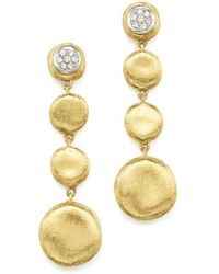 Marco Bicego - Pavé Diamond Jaipur Drop Earrings In 18k White & Yellow Gold - Lyst