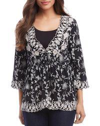 Karen Kane Scalloped Floral - Embroidered Top - Black