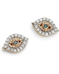 Adina Reyter - 14k Yellow Gold Pavé Blue & White Diamond Tiny Evil Eye Stud Earrings - Lyst