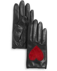 Aqua - Heart Appliqué Leather Tech Gloves - Lyst