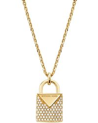 Michael Kors - Kors Color Pavé Sterling Silver Padlock Charm Necklace In 14k Gold - Plated Sterling Silver - Lyst