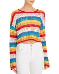 Honey Punch - Rainbow-stripe Cropped Crochet Jumper - Lyst