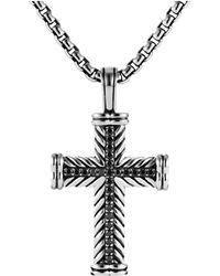 David Yurman - Chevron Cross With Black Diamonds - Lyst