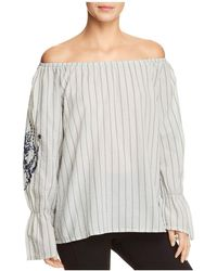 XCVI - Striped & Embroidered Off-the-shoulder Top - Lyst