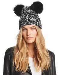 479e7580c96 Lyst - Eugenia Kim Mimi Double Fur Pompoms Beanie Hat in Gray