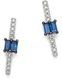 KC Designs - 14k White Gold Mosaic Sapphire & Diamond Stud Earrings - Lyst