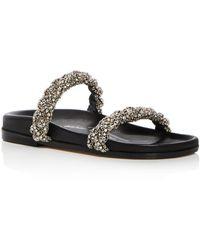 Oscar de la Renta - Women's Charlee Crystal Embellished Satin Slide Sandals - Lyst
