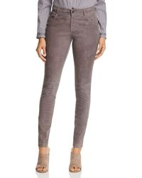 Lafayette 148 New York - Mercer Suede-front Skinny Trousers - Lyst