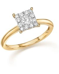 Bloomingdale's - Diamond Cluster Ring In 14k Yellow Gold, .50 Ct. T.w. - Lyst