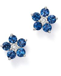 Bloomingdale's - Blue Blue Sapphire & Diamond Flower Stud Earrings In 14k White Gold - Lyst