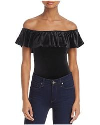 Cotton Candy - Velvet Off-the-shoulder Bodysuit - Lyst