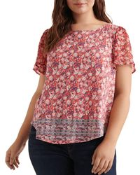 Lucky Brand - Floral Border Print Top - Lyst