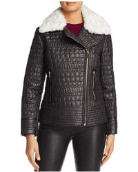 Via Spiga - Faux Fur Trim Quilted Moto Jacket - Lyst