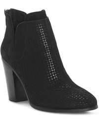 Vince Camuto - Women's Farrier Almond Toe Perforated Suede Booties - Lyst