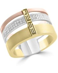 Bloomingdale's - Diamond Triple Row Ring In 14k Rose, White And Yellow Gold, .15 Ct. T.w. - Lyst