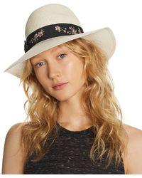 Aqua - Embroidered-trim Panama Hat - Lyst