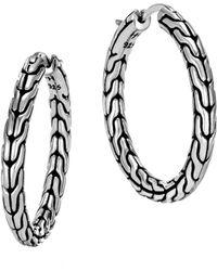 John Hardy - Sterling Silver Classic Chain Hoop Earrings - Lyst
