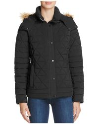 Marc New York - Tess Faux Fur Trim Pyramid Down Coat - Lyst