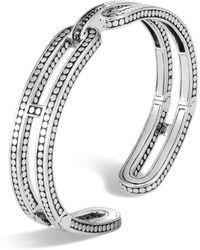 John Hardy - Sterling Silver Dot Small Kick Cuff With Pavé Diamonds - Lyst