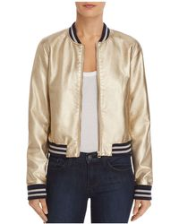 Aqua - Metallic Faux Leather Bomber Jacket - Lyst
