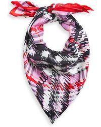 Burberry - Scribble Check Silk Square Scarf - Lyst