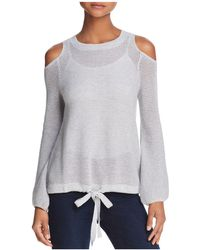 Minnie Rose | Cold-shoulder Open-knit Sweater | Lyst