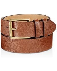 Cole Haan - Flat Strap Leather Belt With Stitched Edge - Lyst