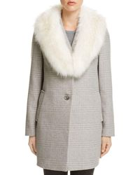 T Tahari - Olivia Faux Fur-trim Coat - Lyst