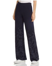 XCVI - Embroidered Wide-leg Pants - Lyst