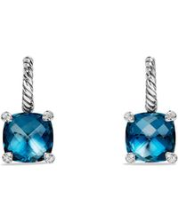 David Yurman - Châtelaine Drop Earrings With Hampton Blue Topaz And Diamonds - Lyst