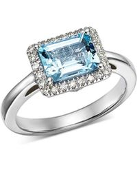 Bloomingdale's - Aquamarine & Diamond Ring In 14k White Gold - Lyst