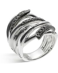 John Hardy | Women's Sterling Silver Bamboo Lava Extra Wide Ring With Black Sapphires | Lyst
