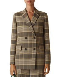 Whistles - Check Double-breasted Blazer - Lyst