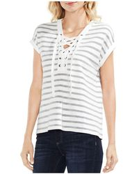 Vince Camuto - Striped Lace-up Top - Lyst