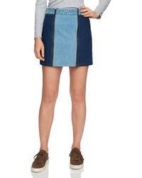 1.STATE - Two-tone Denim Mini Skirt In Blue Slate Wash - Lyst