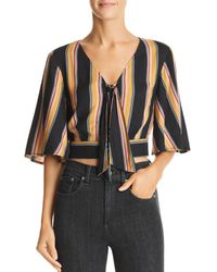 Band Of Gypsies - Gigi Striped Tie-detail Cropped Top - Lyst