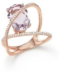 Bloomingdale's - Amethyst And Diamond Statement Ring In 14k Rose Gold - Lyst