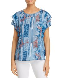 Tolani - Aly Patchwork-print Ruffle Top - Lyst